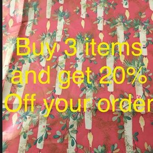 BUY 3 ITEMS AND GET 20% off your order